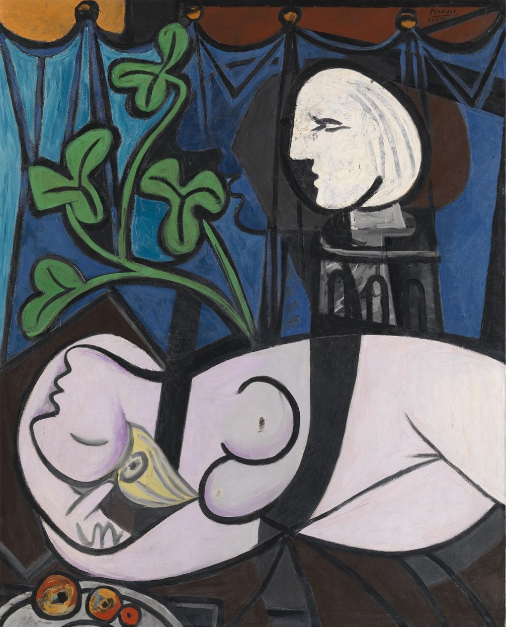 Nude, Green leaves and Bust (also known as Nude with Sculptor's Turntable; Nu au plateau de sculpteur) 1932 Pablo Picasso 1881-1973 Lent from a private collection 2011 http://www.tate.org.uk/art/work/L02971