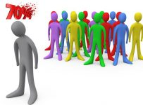 Royalty-free 3d computer generated people clipart picture image of a sad gray person standing alone near a crowd of different colored people, symbolizing depression, bullying, standing out from the crowd, etc.