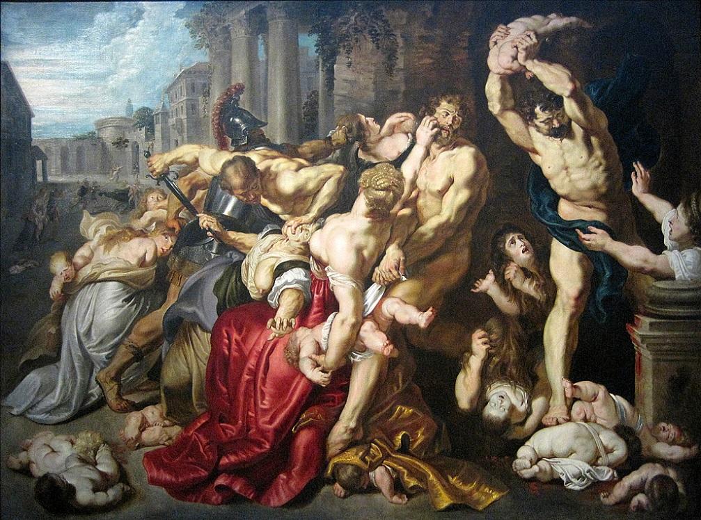 « Le Massacre des Innocents », huile sur bois (Hauteur. 142 cm ; largeur. 182 cm) d'après Pierre Paul Rubens vers 1610-1612, appartenant aux musées royaux des beaux-arts de Belgique de Bruxelles. - Inv. 3639, photographiée lors de l'exposition temporaire « Rubens et son Temps » au musée du Louvre-Lens.
