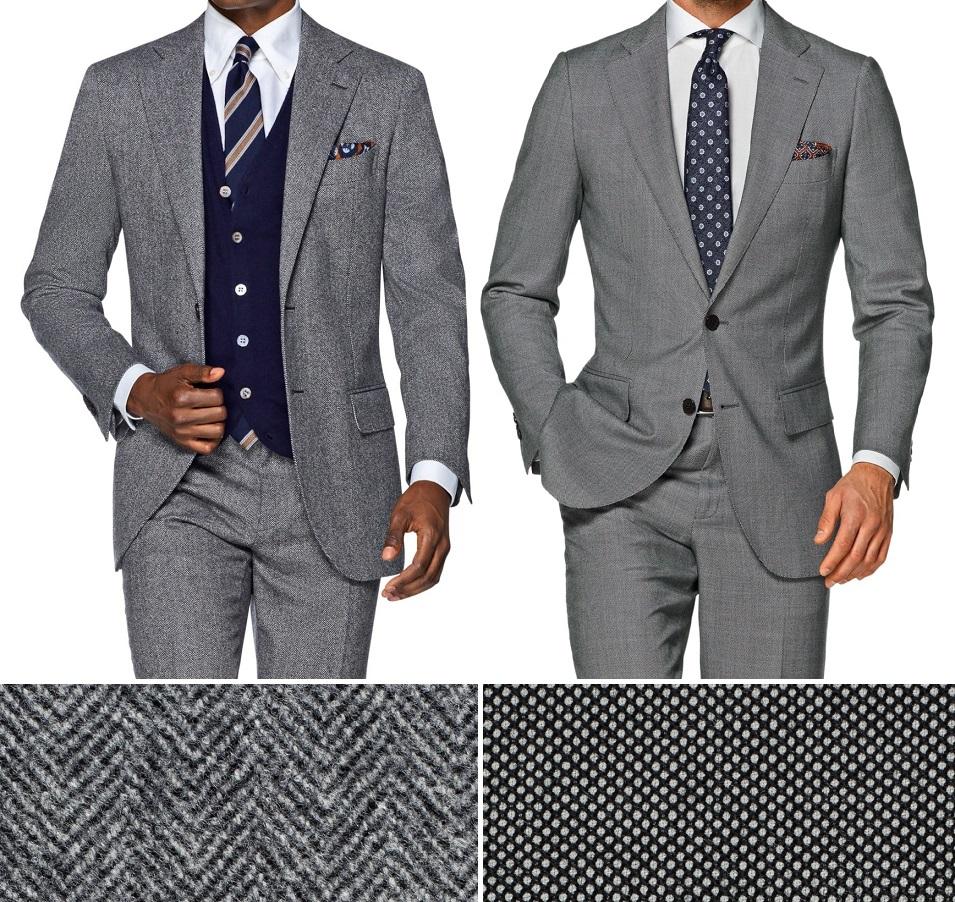7d4a839d62d9c Szare garnitury Suit Supply i powiększenie tkanin z jakich są uszyte:  jodełki i żabiego oczka.